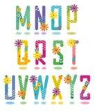 O alfabeto da mola rotula M - Z ilustração stock