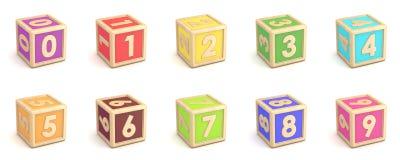 O alfabeto de madeira da coleção do número obstrui a fonte girada 3d Imagem de Stock