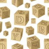 O alfabeto de madeira obstrui o teste padrão Imagens de Stock Royalty Free