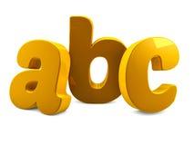 O alfabeto do ABC do metal do ouro rotula 3d para render Imagens de Stock