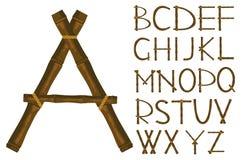 O alfabeto do bambu Fotos de Stock Royalty Free