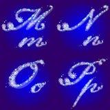 O alfabeto do inverno com flocos de neve rotula M, N, O, P Fotografia de Stock Royalty Free