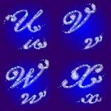 O alfabeto do inverno com flocos de neve rotula U, V, W, X Fotografia de Stock
