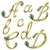 O alfabeto do ouro com gemas rotula A, B, C, D Fotografia de Stock
