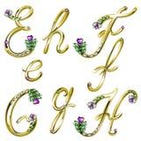 O alfabeto do ouro com gemas rotula E, F, G, H Imagem de Stock