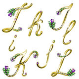 O alfabeto do ouro com gemas rotula I, J, K, L Fotografia de Stock Royalty Free