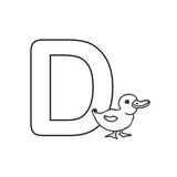 O alfabeto dos animais do bebê caçoa a página da coloração isolada Imagens de Stock