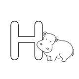 O alfabeto dos animais do bebê caçoa a página da coloração isolada Foto de Stock