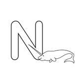 O alfabeto dos animais do bebê caçoa a página da coloração isolada Fotos de Stock