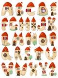 O alfabeto latin dos desenhos animados consiste em casas Imagens de Stock Royalty Free