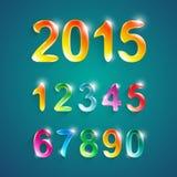 O alfabeto numera o estilo das cores do cristal Ilustração do vetor ilustração stock