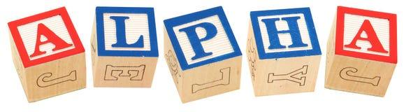 O alfabeto obstrui o ALFA Fotografia de Stock Royalty Free