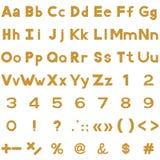 O alfabeto, os números e os sinais ajustaram-se, madeira Imagens de Stock