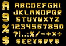 O alfabeto, os números, a moeda e os símbolos embalam - o chanfro retangular Fotografia de Stock