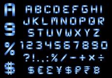 O alfabeto, os números, a moeda e os símbolos embalam, b curvado retangular Imagens de Stock Royalty Free