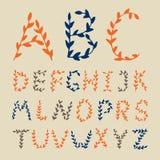 O alfabeto tirado mão floresce letras Fotografia de Stock Royalty Free