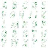 O alfabeto verde floral pode ser usado para cartões do projeto Fotografia de Stock Royalty Free