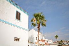 O Algarve: Casas e palmas tradicionais na aldeia piscatória de Ferragudo perto de Portimao, Portugal fotografia de stock royalty free