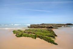O Algarve: Encalhe o Praia a Dinamarca Arrifana, litoral com rochas na maré baixa - Oceano Atlântico, Portugal Fotos de Stock