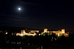 O Alhambra em Noite Fotos de Stock