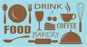O alimento, a bebida, a padaria e o café projetam ilustração do vetor