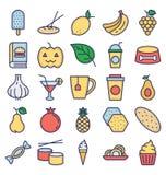 O alimento, bebidas, frutos, vegetais os ícones do vetor que ajustam aquele pode facilmente ser alterado ou editado ilustração do vetor