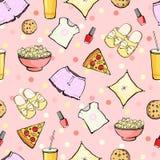 O alimento bonito do partido do Sleepover do vetor objeta sem emenda Imagens de Stock Royalty Free