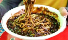 O alimento coreano chamou a música de Ja Guem imagens de stock