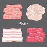 O alimento da carne come o vetor cru fresco dos desenhos animados da fatia da parte da galinha do bacon da carne de porco da carn Foto de Stock