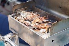 O alimento de mar é assado do calamar imagem de stock