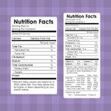 O alimento dos fatos da nutrição etiqueta a informação saudável ilustração royalty free