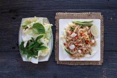 O alimento tailandês do aperitivo chamou Mooh Nam, triturou e martelou a carne de porco roasted da pele, vista superior Fotos de Stock Royalty Free