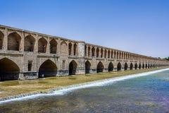 O Allahverdi Khan Bridge conhecido popularmente como o Si-o-SE-político em Ä°s fotografia de stock royalty free