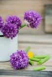 O Allium floresce o ramalhete em um vaso decorativo do metal à moda Profundidade de campo rasa Imagens de Stock