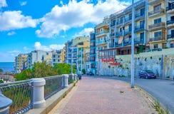 O alojamento de Bugibba, Malta fotos de stock royalty free