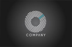 O alphabet line stripe white blue letter logo icon design stock illustration