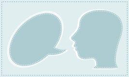 O altofalante abstrato com discurso borbulha na cabeça Imagem de Stock