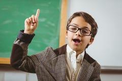O aluno vestiu-se acima como o professor que tem uma ideia Imagens de Stock