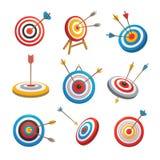O alvo com ícones da seta ajustou-se, estilo dos desenhos animados ilustração royalty free