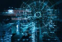 O alvo de laser do Cyber em uma cidade da noite borrou o fundo Foto de Stock Royalty Free