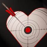 O alvo do coração mostra o romance bem sucedido Foto de Stock Royalty Free