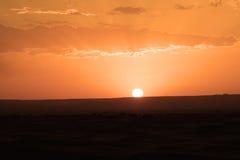 O alvorecer de um dia novo nas dunas do deserto do ERG em Marrocos Fotos de Stock Royalty Free
