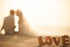 O amante em pares do casamento e em fundo do por do sol Fotos de Stock Royalty Free