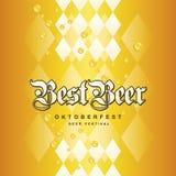 O amarelo bávaro do ouro da melhor cerveja de Oktoberfest deixa cair o fundo ilustração do vetor