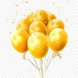 O amarelo balloons o ícone dourado do festival da festa de anos do vetor dos confetes das estrelas ilustração royalty free