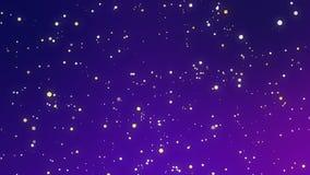 O amarelo branco de incandescência sparkles em um fundo azul roxo