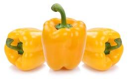 O amarelo da pimenta de Bell salpica o isola vegetal do alimento das paprika da paprika imagens de stock royalty free