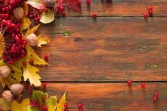 O amarelo do bordo do outono sae e bagas no fundo de madeira Foto de Stock