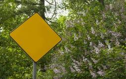 O amarelo do diamante assina dentro o parque com o lilás na flor Fotografia de Stock