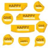 O amarelo feliz da venda da coleção da ação de graças curvou as etiquetas de papel Imagem de Stock